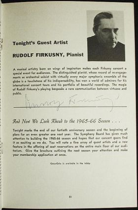 Rudolf Firkusny Autograph [program from 1965 Rachmaninoff Rhapsody on a Theme of Paganini Performance with Amarillo Symphony Orchestra]