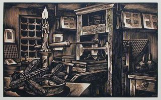 Old Printing Office: Wood Engraving by John DePol. John DePol