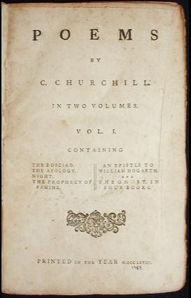 Poems by C. Churchill [provenance: Paul Sleman Clark]