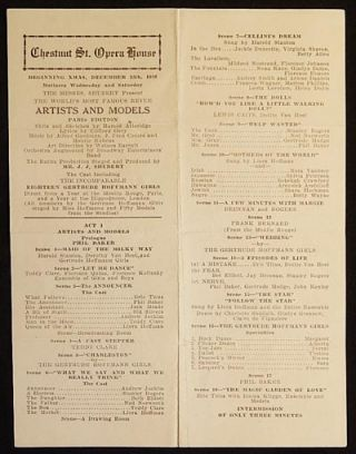 Artists and Models: Paris Edition [Chestnut St. Opera House playbill 1926 -- Sid Silvers'...