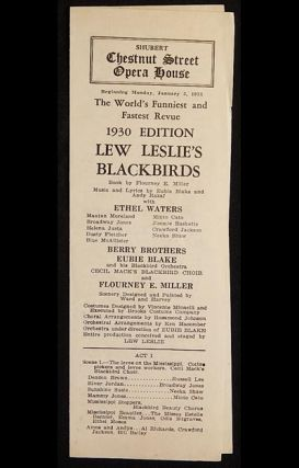 Lew Leslie's Blackbirds: 1930 Edition [Shubert Chestnut Street Opera House playbill 1931] with Ethel Waters