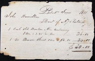 Handwritten Receipt for the purchase of Ale and Stout from Anthony Slater by John Hamilton,...