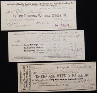 Receipts for Subscription to the Reading Weekly Eagle for Allen Kreibel, 1889, 1892, 1897. George...
