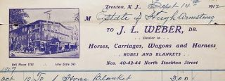 Account Settlement between Estate of Hugh Armstrong, box maker, and J.L. Weber, dealer in horses, carriages, wagons and harness, Trenton, N.J., 1907-1910 [illustrated letterhead]