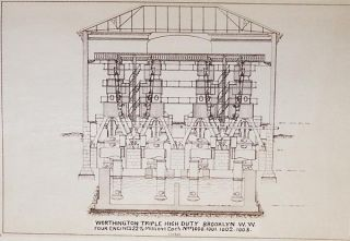 Reproduction of Drawings Accompanying Proposal of Henry R. Worthington [drawings of his vertical triple expansion high duty pumping engine]