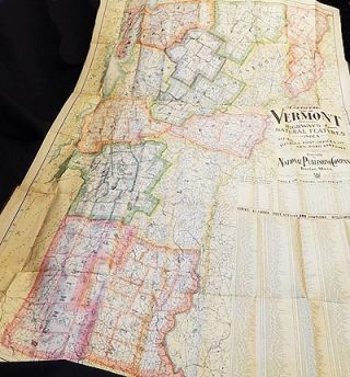 Complete Map of Vermont Showing Highways & Natural Features with an Index of all Cities,...