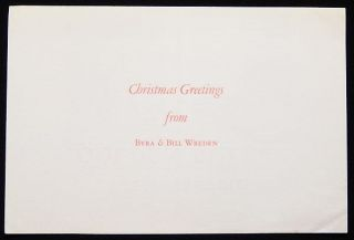Christmas Greetings from Byra & Bill Wreden: Twelve True Old Golden Rules, Selected from various Authors, by J.R. Howe. J. R. Howe.