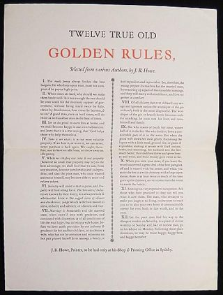 Christmas Greetings from Byra & Bill Wreden: Twelve True Old Golden Rules, Selected from various Authors, by J.R. Howe