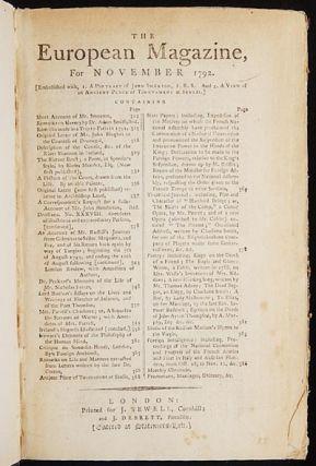 The European Magazine, and London Review, for November 1792 [Mutiny on the Bounty; Charlotte...