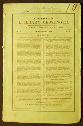 Southern Literary Messenger Feb. 1839 vol. 5, no. 2. Lydia H. Sigourney, Harvey Lindsly.