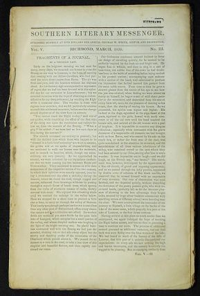 Southern Literary Messenger March 1839 vol. 5, no. 3. Judith Page Walker Rives