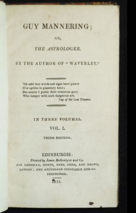 """Guy Mannering; or, The Astrologer by the Author of by the Author of """"Waverly"""" in three volumes"""