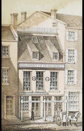 Chromolithograph of Christian G. Gunther's Fur Establishment [from Valentine's Manual of the Corporation of the City of New York]