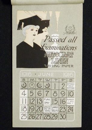 1916 Calendar advertising Autocrat Linen Writing Paper