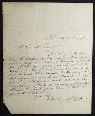 Letter from Anthony Kelly, Jr., Philadelphia, to David Townsend, cashier of the Chester County...