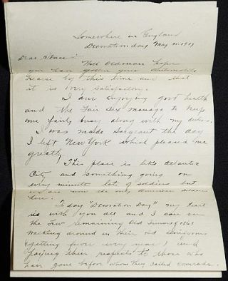 Letter from Sergeant Horace H. Cornell to Stacy B. Brown, May 31 1917, from Base Hospital No. 10 on its way to France [World War One]