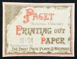Paget (Gelatino-Chloride) Printing Out Paper label