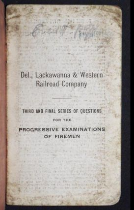 Third and Final Series of Questions for the Progressive Examinations of Firemen