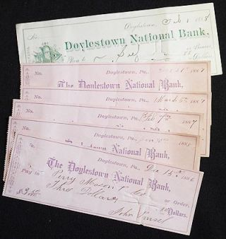 The Doylestown National Bank checks 1886-1888 (6)