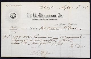 W.H. Thompson Jr., importer of Diamonds, receipt with letterhead