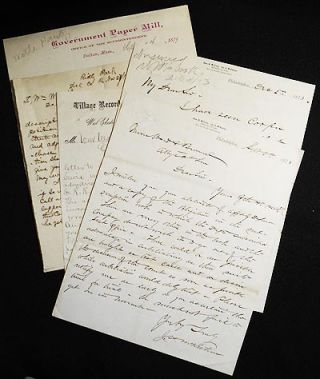 5 letters, 1873-1879, to William Ward (1837-1895) [Philadelphia and Chester County Railroad