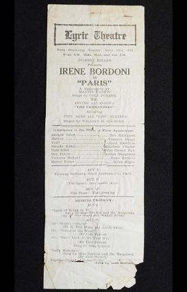 """Paris"" Program from the Philadelphia Lyric Theatre pre-Broadway tryout in 1928"