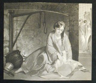 1 aguatint? reproduction of Cinderella at the Kitchen Fire by Thomas Sully. Thomas Sully.