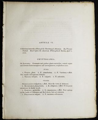 Collections towards a Flora of the Territory of Arkansas by Thomas Nuttall [Transactions of the...