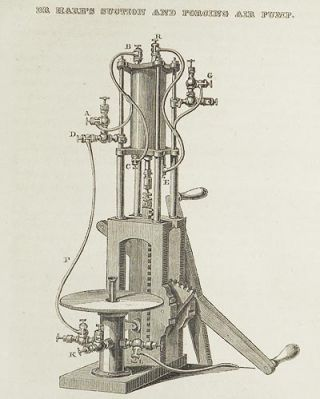 Description of an Air Pump of a new construction, which acts either as an Air Pump, or a Condenser, or as both; enabling the operator to exhaust, to condense, to transfer a Gas from one cavity to another, or to pass it through a Liquid by R. Hare [Transactions of the American Philosophical Society, vol. 5 New Series, Article XXII]
