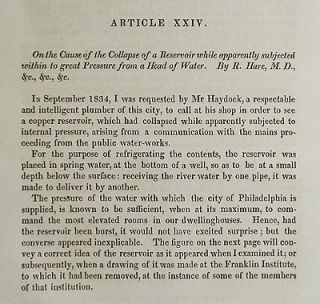 On the Cause of the Collapse of a Reservoir while apparently subjected within to great Pressure from a Head of Water by R. Hare [Transactions of the American Philosophical Society, vol. 5 New Series, Article XXIV]