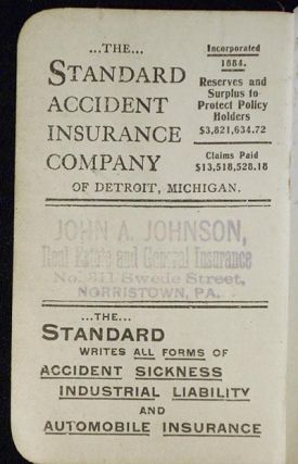 [Advertising Notebook -- John A. Johnson, real estate and general insurance, Norristown, Pa.]