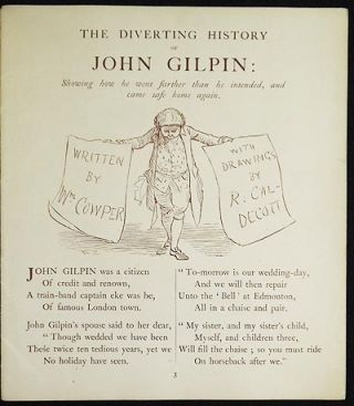 The Diverting History of John Gilpin; Written by Wm. Cowper with Drawings by R. Caldecott