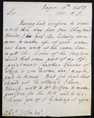Letter to Christopher Tilson, esq., written at the Hague on Feb. 13, 1711. Viscount Townshend...