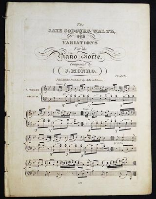 The Saxe Cobourg Waltz, with Variations for the Piano Forte, composed by J. Monro. John Monro.