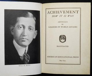 Achievement: How It Is Won; Articles by Leaders in World Affairs