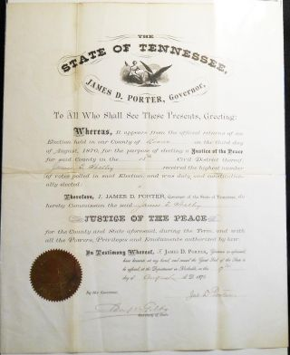 Justice of the Peace Commission from Governor James D. Porter of Tennessee to James T. Shelley of...