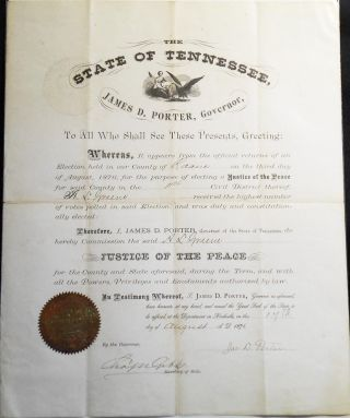 Justice of the Peace Commission from Governor James D. Porter of Tennessee to A. L. Greene of...