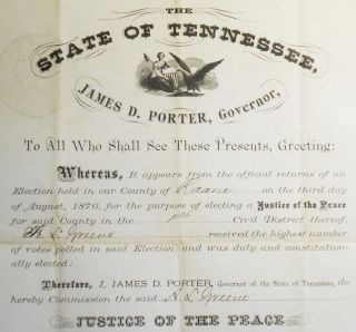 Justice of the Peace Commission from Governor James D. Porter of Tennessee to A. L. Greene of Roane County [Austin Letheridge Greene]
