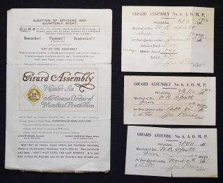 Dues Records of Membership of W. R. Spratt in the Girard Assembly Number Six, Artisans Order of Mutual Protection, 1910-1911