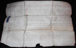 Vellum Abstract of Several Deeds for Property in Hawkhurst, Kent, England, 1733, involving John Springett and others