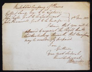 Handwritten letter of commission to the War Office. William Dundas