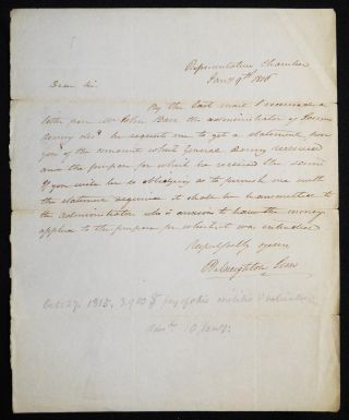 Autograph letter signed regarding the estate of Major General James Denny. William Creighton