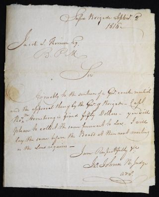 Autograph letter signed, to Jacob S. Thomson, Brigade Paymaster, regarding courtmartial of...
