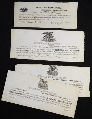 4 enlistment slips for the Ulster Artillery, Sugerties, Ulster County, N.Y. William W. Conyes
