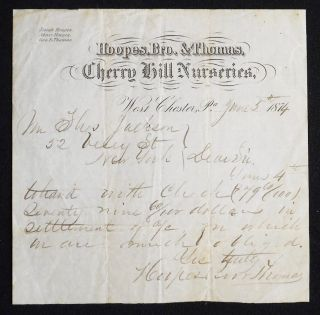 Hoopes, Bro. & Thomas, Cherry Hill Nurseries, handwritten receipt. Bro Hoopes, Cherry Hill...
