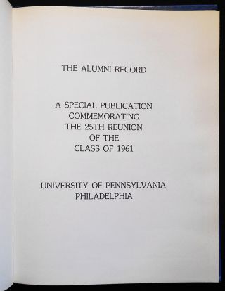 The Alumni Record: A Special Publication Commemorating the 25th Reunion of the Class of 1961