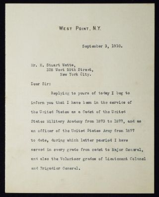 Typed, signed letter to H. Stuart Watts from Major General Thomas H. Barry while superintendent...
