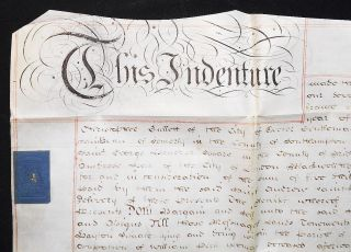 Vellum indenture of lease and release between Christopher Gullett of Exeter, gentleman, and the...