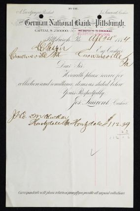 The German National Bank of Pittsburgh [letterhead] 1884 addressed to Alexander Ennis Patton