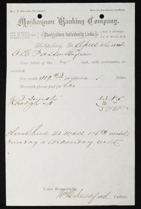 Moshannon Banking Company [letterhead] 1884 addressed to Alexander Ennis Patton